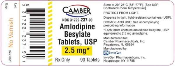 Amlodipine Besylate 2.5 mg Tablets