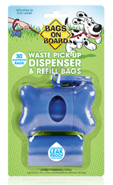 Bags On Board Blue Bone Waste Bag Dispenser & Bags